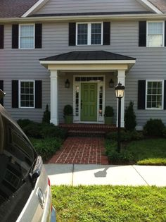 40 Exterior House Colors With Brown Roof - ROUNDECOR Exterior house colors with brown roof 14 Shutters Exterior, Front Door Landscaping, Front Porch Design, Brown Roofs, Front Door Overhang, Front Porch Addition, Exterior House Colors, Exterior Paint Colors For House, Green Front Doors