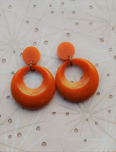 50s Hoop Earrings,Orange Bakelite Style Earrings,Rockabilly Earrings,Mid Century Modern,50s Pin Up Earrings,Bakelite Fakelite Hoops, by RosieMays on Etsy