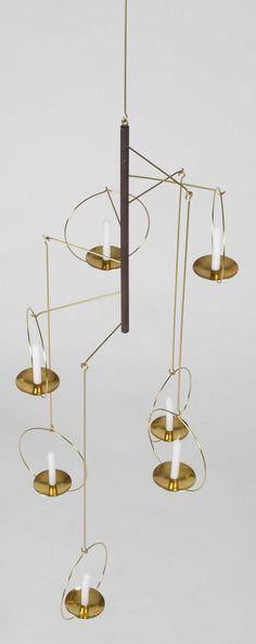 Brass Candle Mobile for Raija Aarikka, Vintage gold mobile hoop interior chandelier style