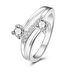 Duo-Petite Classical Stone Spiral Ring Size Women's