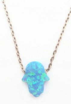 Silver Necklace with Opal Hamsa by designsfromtr on Etsy, $22.99