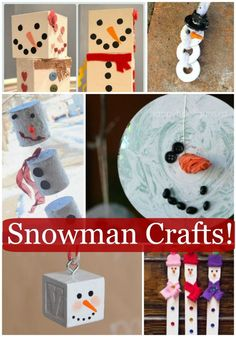 The absolute cutest snowman crafts for kids! Love how there is a craft for each shape - perfect learning for preschoolers this winter