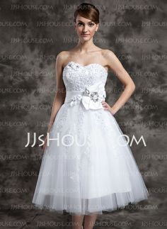 Wedding Dresses - $152.99 - A-Line/Princess Sweetheart Tea-Length Satin Tulle Wedding Dress With Lace Beadwork Flower(s) (002024082) http://jjshouse.com/A-Line-Princess-Sweetheart-Tea-Length-Satin-Tulle-Wedding-Dress-With-Lace-Beadwork-Flower-S-002024082-g24082