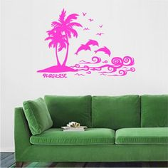 """Wall sticker on the theme of Travel. The sticker depicts palm trees, dolphins, birds, an island, ocean waves and inscription """"paradise"""" . Palm Tree Island, Wand Tattoo, Wall Decal Sticker, Ocean Waves, Textured Walls, Palm Trees, Traveling, Stickers, Wall Art"""