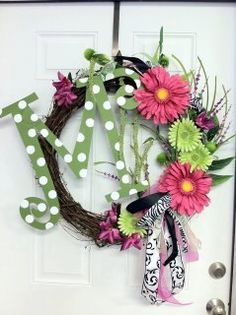 Large Monogram Initial Wreath with Hand Painted by tanyahardee, $65.00