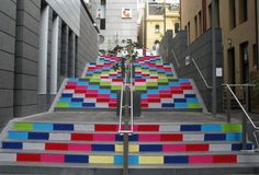 Yarn Bombing Stairs - awesome