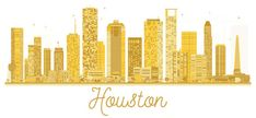 Houston USA City skyline golden silhouette.