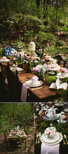 whimsical wonderland forest wedding table settings