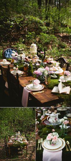 whimsical wonderland forest wedding table settings