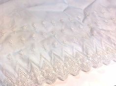 Vintage Pastel Blue Embroidered Sheer Fabric  15 inches wide   1 yard