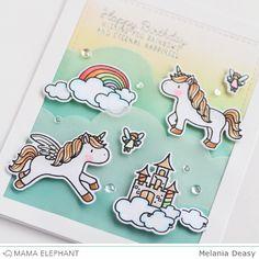 Mama Elephant Stamp Highlight Unicorns and Rainbows.like the vellum clouds Mama Elephant Stamps, Rainbow Card, Unicorns And Mermaids, Unicorn Crafts, Shaped Cards, Animal Cards, Copics, Kids Cards, Creative Cards