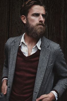 Men's Burgundy V-neck Sweater, White Vertical Striped Longsleeve Shirt, and Grey Herringbone Blazer