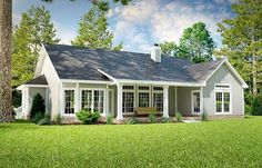 house ideas With a big wrap-around porch in front and a covered patio in back, this Ranch house plan keeps you sheltered from the hot the breakfast nook and the formal dining room have tr