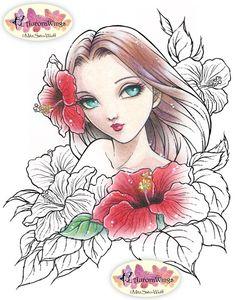 Digital Stamp  Instant Download  Spirit of Hibiscus by AuroraWings