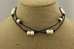 ETS-S309 two styles pearl necklace,white pearl leather necklace,freshwater pearl necklace