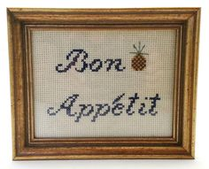 "Bon Appetit Cross Stitch Finished Pineapple Kitchen Cook Small Framed Glass 6"" #pineapple #french #chef"