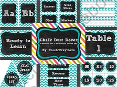 """This turquoise chevron and chalkboard decor set is perfect for the upper elementary school teacher who doesn't want a """"cutesy"""" classroom theme!"""
