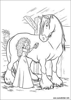 Brave, Merida and Angus coloring page | Horse Play | Pinterest ...