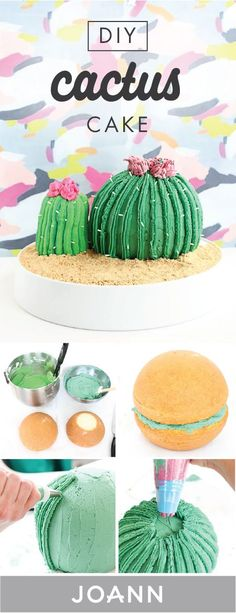 For a masterpiece of a dessert this recipe for a DIY Cactus Cake from JOANN is the way to go. Whether youre looking to use your baking skills or a Kaktus Cupcakes, Cupcakes Flores, Mini Cakes, Cupcake Cakes, Cactus Cake, Cactus Food, Chocolate Strawberry Cake, Fiesta Party, Diy Cake