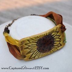 Pottery Sunflower Bracelet Bead in Orangey by CapturedMoments, $6.25