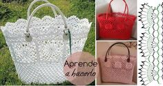 Aprende a hacer un maravilloso bolso de ganchillo Free Crochet Bag, Cute Crochet, Easter Crochet Patterns, Crochet Projects, Straw Bag, Diy And Crafts, Reusable Tote Bags, Embroidery, Purses