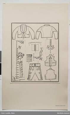 Helgdagsdräkt för män, Häverö socken, Väddö socken, Häverö skeppslag Uppland. Teckning av Emelie von Walterstorff. (E.v.Walterstorff.)