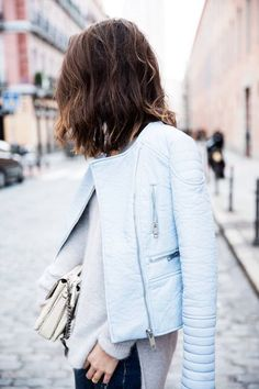baby blue leather jacket