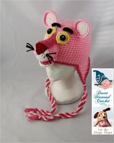 Crochet Pattern 048 - Pink Panther Beanie Hat - All Sizes. $5.95, via Etsy.