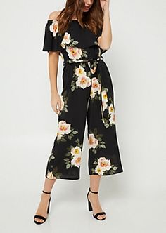 Black Floral Print Off Shoulder Culottes Jumpsuit | rue21