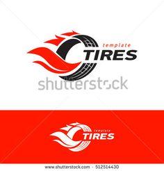 Tires logo design template, silhouette wheel vector red color