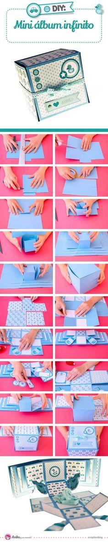 Manualidades con papel: cómo hacer un mini álbum de fotos infinito paso a paso. #craft #manualidades #scrapbooking #howto #ideas #inspiracion #album