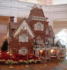 Gingerbread house- so pretty and whimsical. At the Grand Floridian in Disney World. I saw this in person... Amazing, makes the hotel smell  good too.