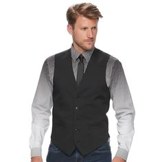 This men's Apt. 9 vest makes an immediate stylish statement with its slim fit and modern design. Stretch fabric delivers all-day comfort. Black Suit Vest, Black Suits, Homecoming Outfits For Guys, Homecoming Dresses, Business Attire For Men, Slim Fit Suits, Glen Plaid, Stretch Fabric, Mens Fashion