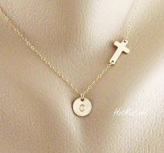 Gold Sideways cross Necklace and Initial charm SMALL.  Love.