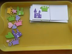 "Spatial relationships: child copies your sticker design on the other side of card.  when all completed, cut apart and play ""Memory""! (via Rockabye Butterfly: Montessori Tray and Games!)"