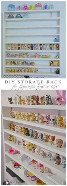 DIY Toy Shelving DIY storage rack for figurines, Littlest Pet Shops and/or race cars