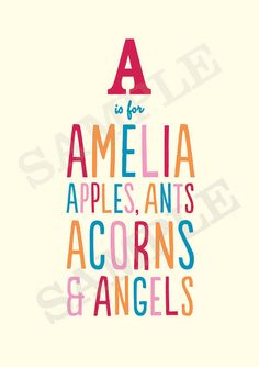 A is for Amelia: Custom made personalised baby or child name print. Perfect gift for a new baby or young child's nursery