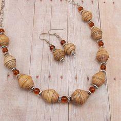 Paper Bead Necklace and Earring Set Rwandan by DeederTheBeader