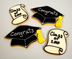 Graduation Cap and Scroll Hand Decorated Iced Sugar by baked, $38.00