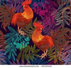 Beautiful, stylish, trendy seamless pattern with symbol 2017 by the Chinese calendar - red fire rooster. Print with decorative roosters and rowan berries.