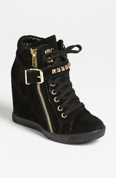 Black Wedge Sneakers
