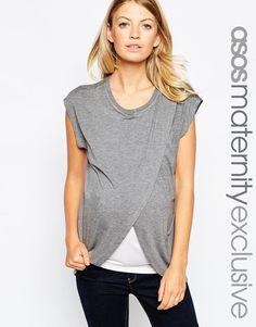 Image 1 ofASOS Maternity NURSING T-Shirt With Wrap Overlay