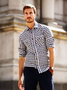 Rolled up sleeves Gingham shirt with two pockets. I can make you one your size from JHilburn