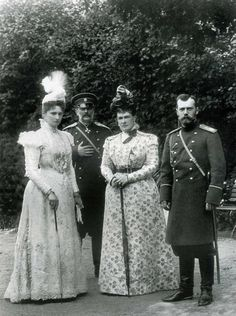 Nicholas II. and his young wife Alexandra captured in a picture with their uncle and aunt - Grand Ducal couple Vladimir Alexandrovich and Maria Pavlovna.