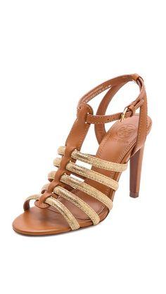 02c7af7f4cdd7 Tory Burch Charlene Metallic Caged Sandals Caged Sandals
