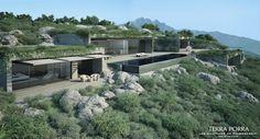 Corsican Mountain View Villas Visualized - Mountain side villa with pool in full sun Cantilever Architecture, Villa Architecture, Contemporary Architecture, Mountain Villa, Mountain Resort, Villa Design, Conception Villa, Exterior, Cabana