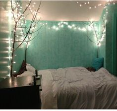 Teal and White Bedroom - love the light, teal and branches - for my reiki room?