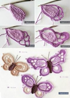 Design your attires with Crochet Butterfly Pattern crochet butterfly pattern picot crochet butterfly free pattern iosqncf Picot Crochet, Crochet Motifs, Freeform Crochet, Thread Crochet, Crochet Crafts, Yarn Crafts, Crochet Projects, My Picot, Doilies Crochet