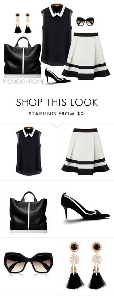 """""""Gillian"""" by patricia-dimmick on Polyvore featuring Lipsy, Reed Krakoff, Shoes of Prey, Prada and monochrome"""