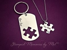Her One, His Only Dog Tag Puzzle Set - The Original - Hand Stamped Couples Jewelry - Necklace Set - Custom Made - Gift for Couple, Newlyweds...